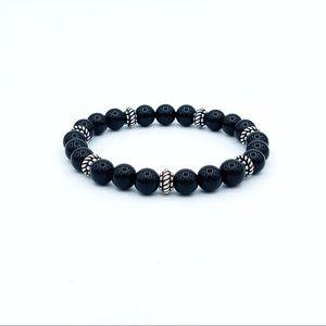 Bali bead Black onyx men's bracelet, stretchy cord